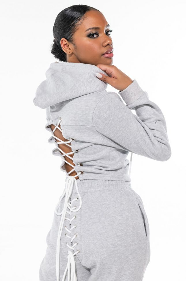 Side View Nothing To Lose Lace Up Sweatshirt