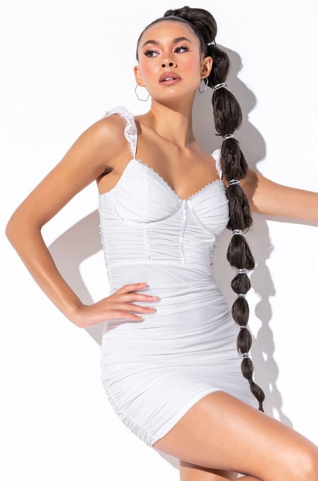Front View Nothing To Prove Mini Ruched Mesh Dress in White