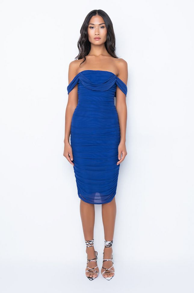 Back View Nothing To Prove Off The Shoulder Midi Mesh Dress