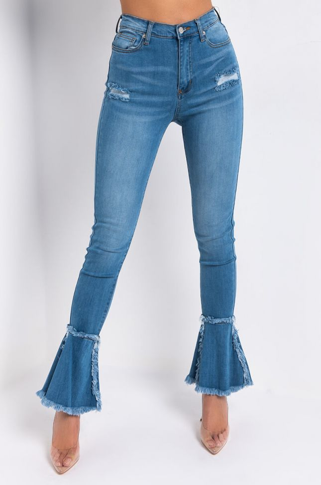 Front View Nouveau Again High Waisted Flare Jeans in Medium Blue Denim