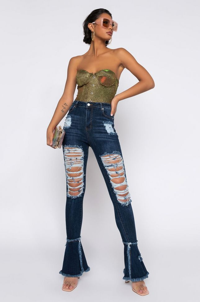 Nouveau High Waisted Distressed Flare Jeans in Dark Blue Denim