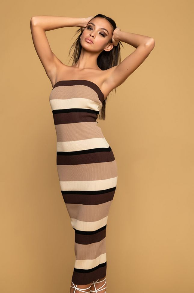 Front View Nude Intentions Tube Midi Dress in Brown Multi