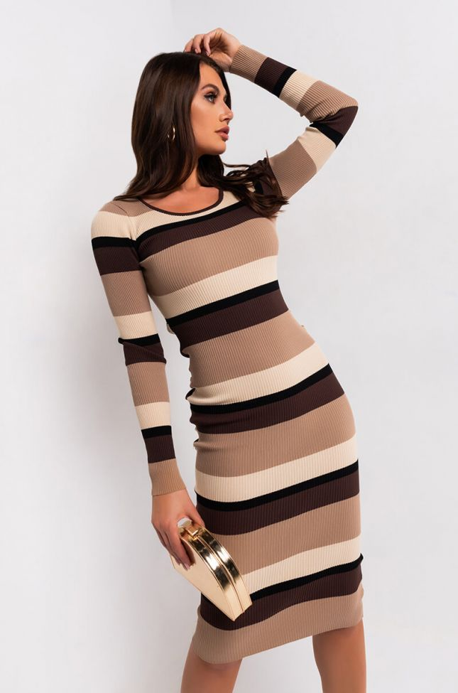 Front View Nudes On Nudes Stripe Ribbed Sweater Dress in Brown