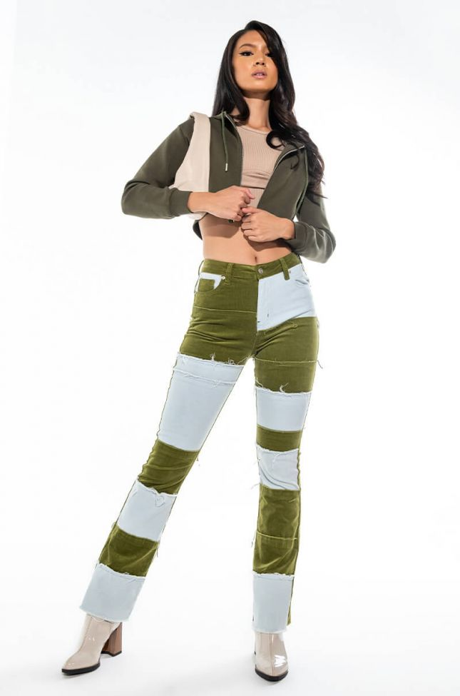NUEVO PATCHWORK HIGH WAISTED STRAIGHT JEANS
