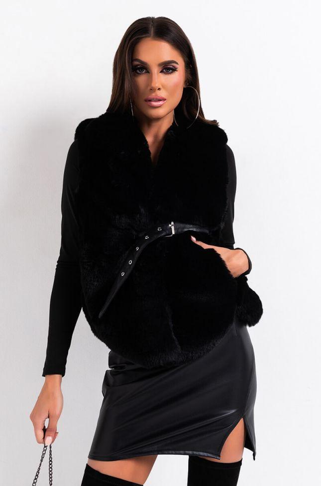 Side View Nye Kiss Faux Fur Vest in Black