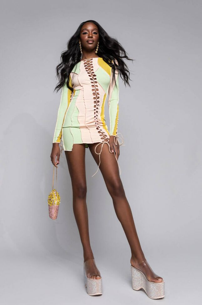 Full View Off The Rip Contrast Trim Lace Up Mini Dress in Pink Multi