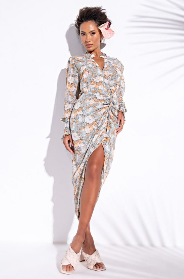 Front View Oh Sunshine Mini Long Sleeve Dress in Green Multi