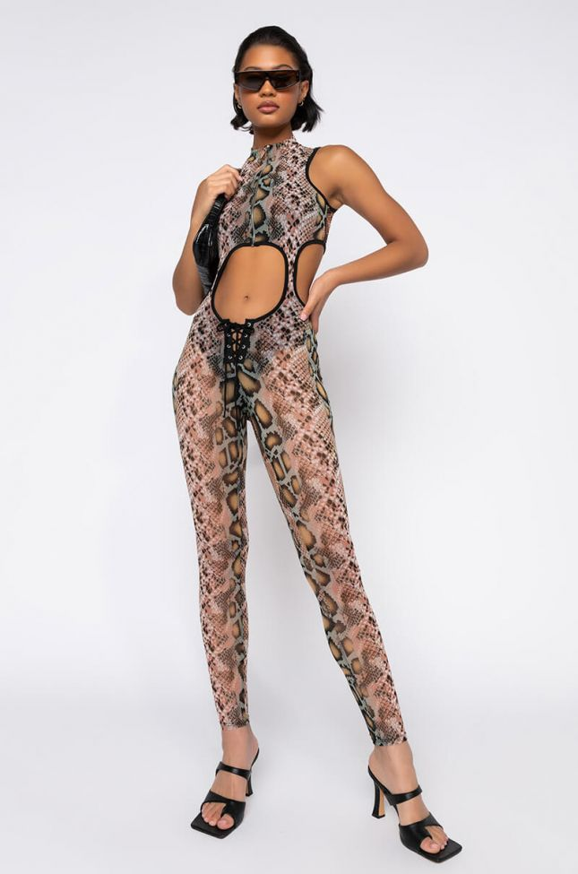 Front View Old To Me New To You Sleeveless Jumpsuit in Brown Multi