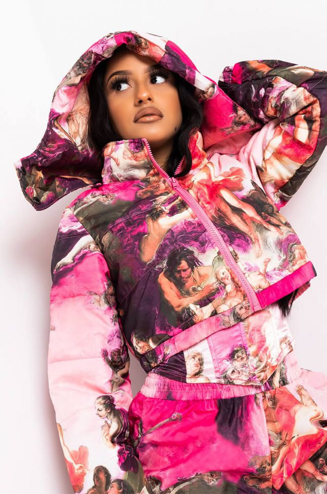 Side View Old World Meets New Renaissance Puffer in Pink Multi