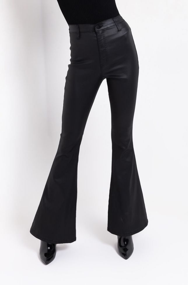 Front View On Duty Vegan Leather High Rise Flare Pants in Black