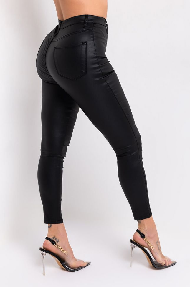 Side View On Duty Vegan Leather High Rise Skinny Pants in Black