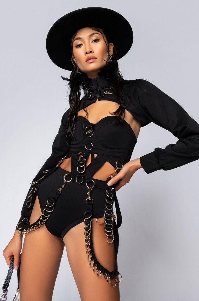 Front View On My Bad Bitch Behavior Bodysuit Set in Black