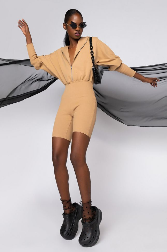 Full View On My Casual Moves Sweatshirt Romper in Light Brown