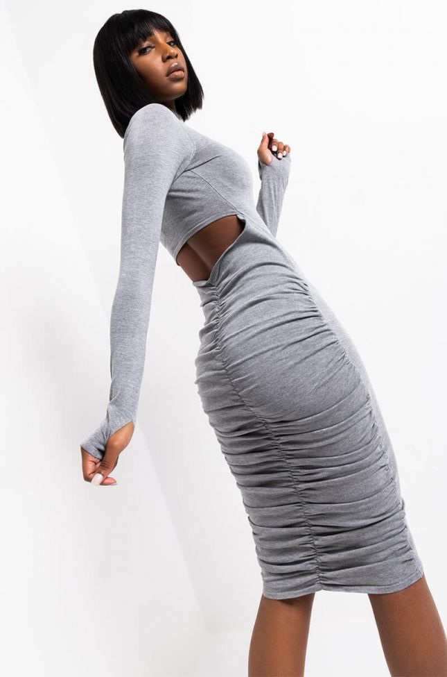 Detail View On My Mind Long Sleeve Back Cut Out Turtleneck Midi Dress in Heather Grey