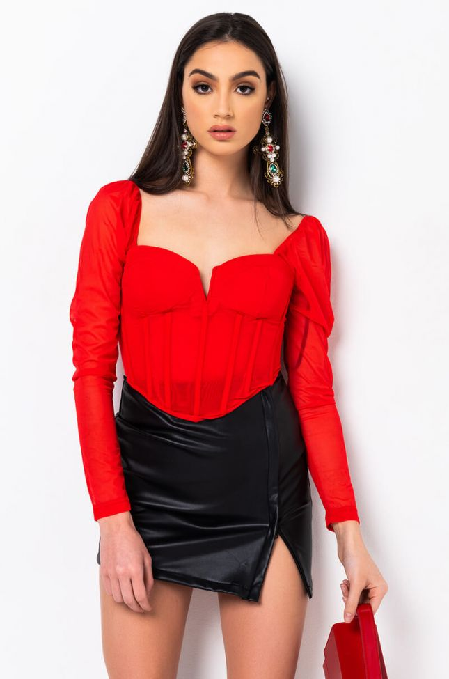 Front View On My Mind Mesh Long Sleeve Corset in Red