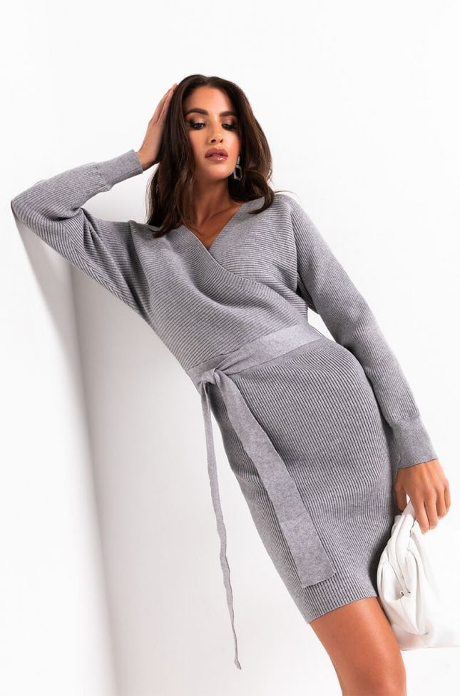 ON MY OWN TIME LONG SLEEVE WRAP FRONT MINI DRESS