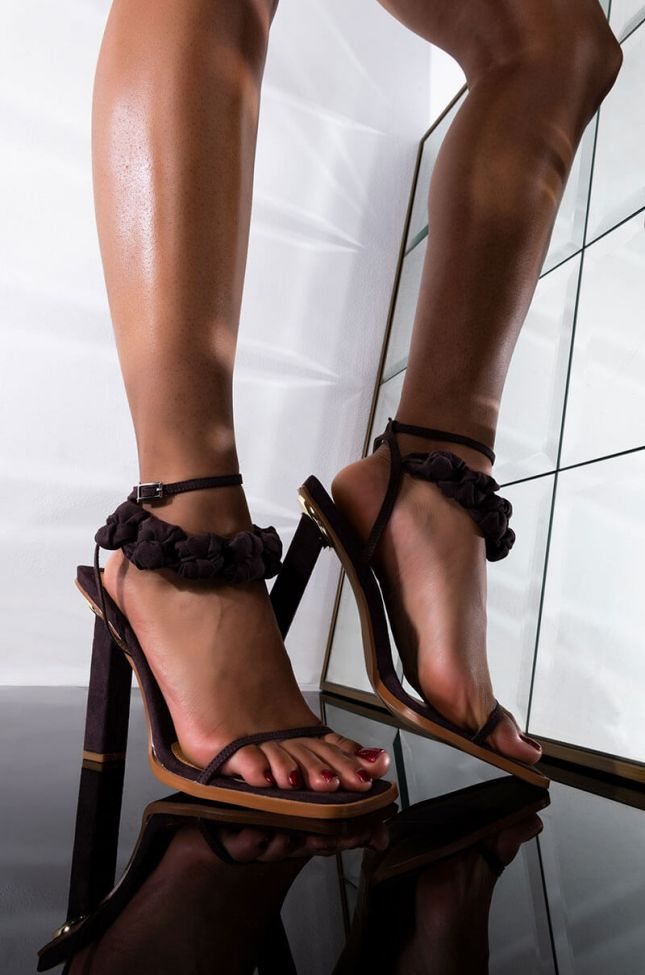 Front View On My Own Time Stiletto Sandal in Brown