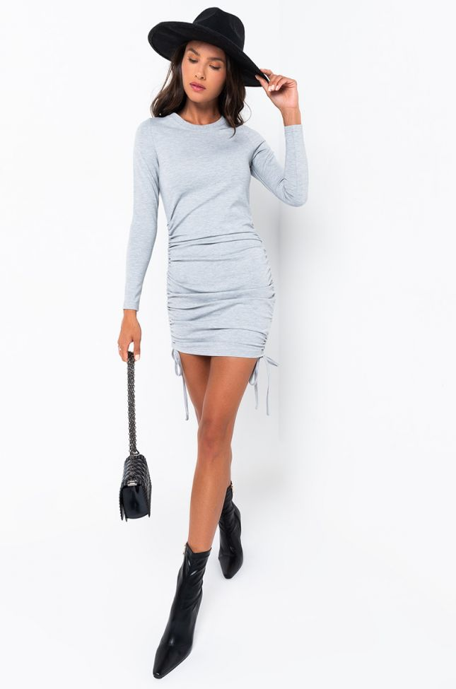 Full View On Our Radar Pull Cord Mini Dress in Heather Grey