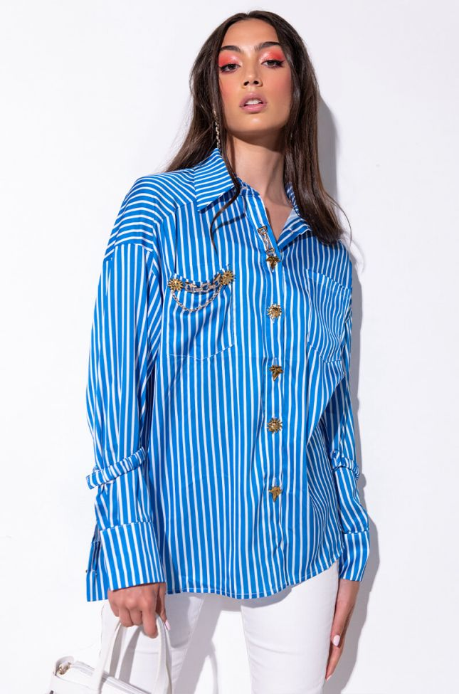 Front View On The Daily Button Up Blouse With Fashion Buttons