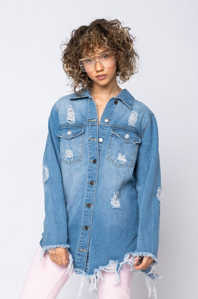 Front View On The Fringe Of It All Oversized Denim Jacket in Blue