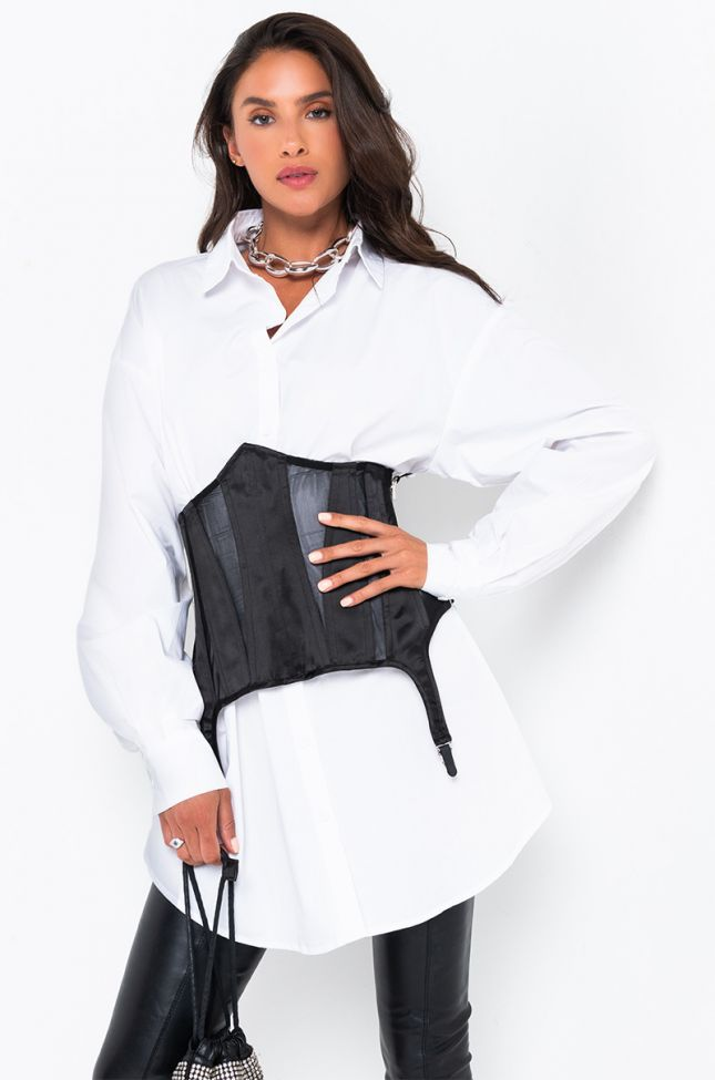 Front View On The Run Long Sleeve Corset Mini Dress in White