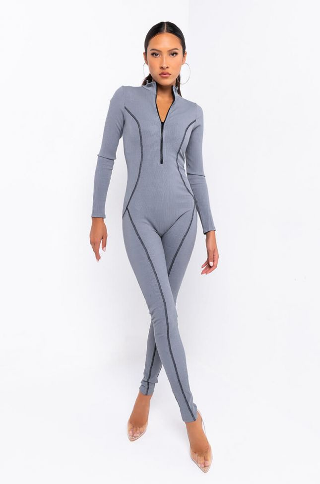 Back View On The Run Ribbed Jumpsuit in Heather Grey