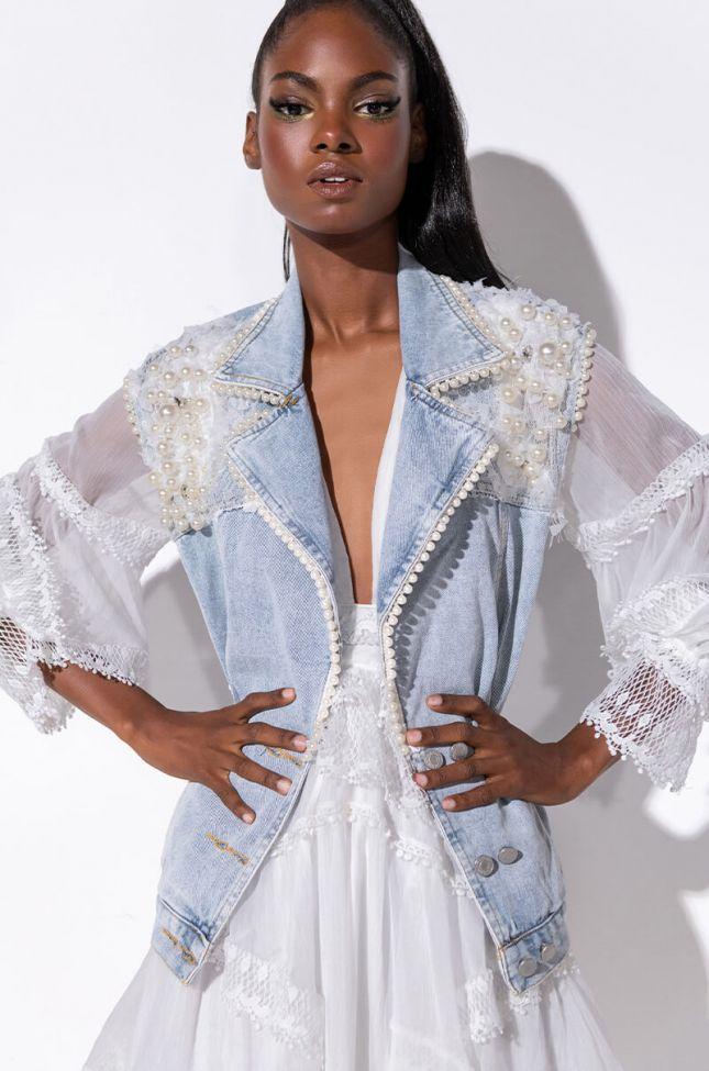 Front View On To You Lace Denim Vest in Light Blue Denim