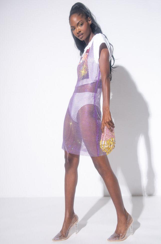 On Your Wish List Mini Rhinestone Mesh Dress in Purple