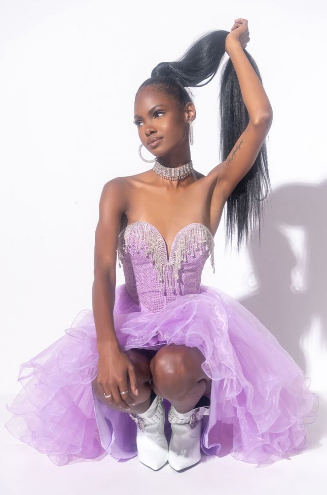 Front View One And Only Mini Tulle Dress With Rhinestone Top in Light Purple