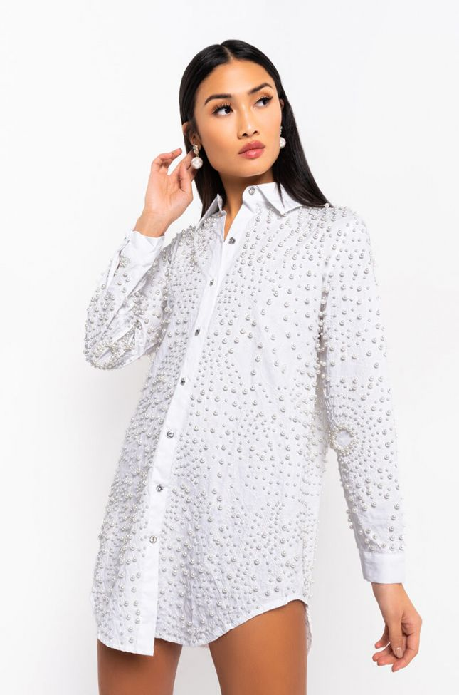 Front View One In A Million Pearl Shirt Dress in Ivory
