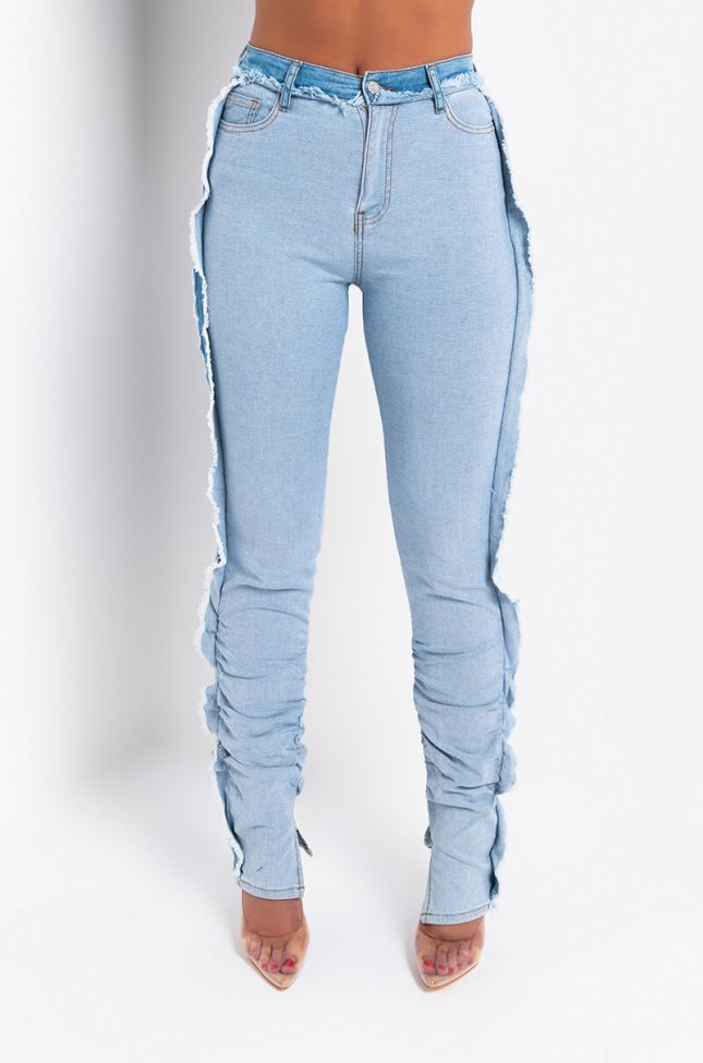 Front View One More Time Inside Out Skinny Jeans in Light Blue Denim