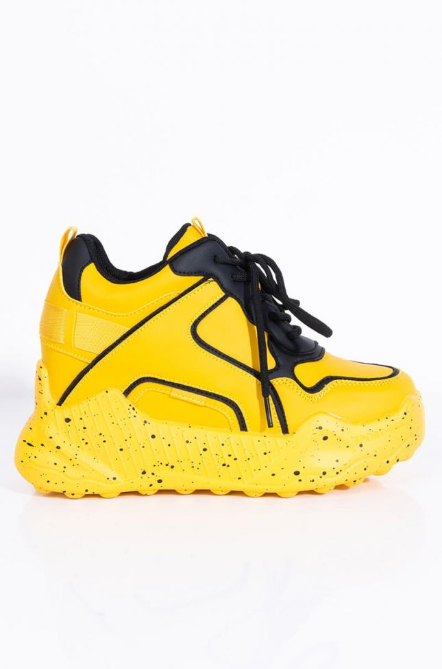 Side View One Track Mind Wedge Sneaker in Yellow