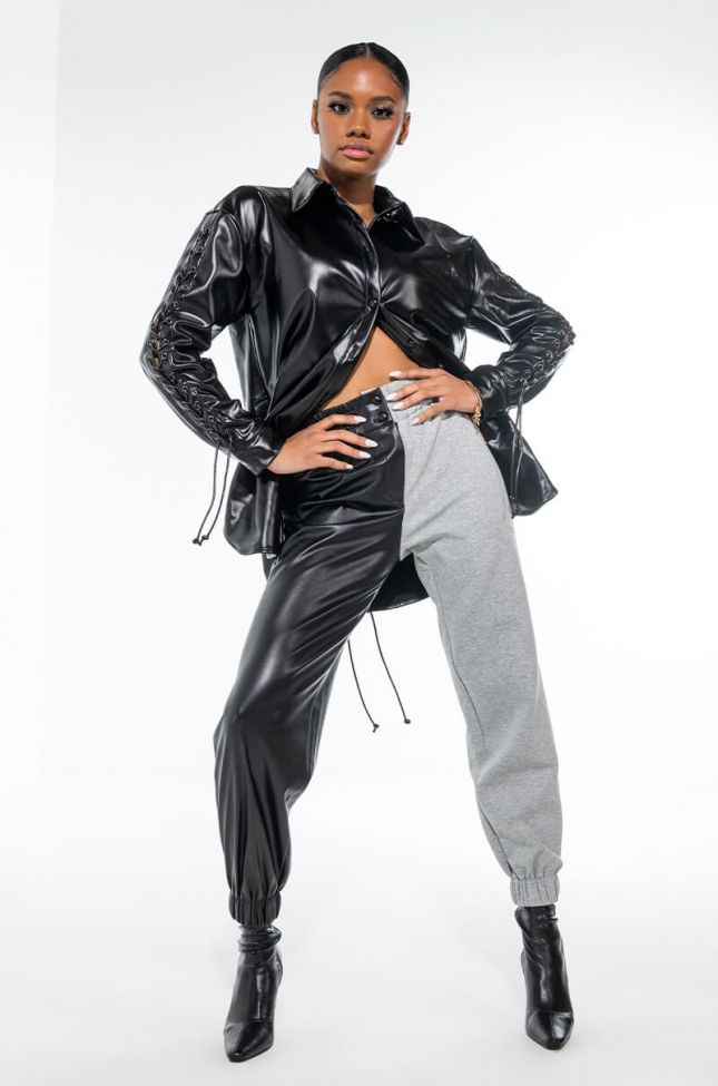 ONLY FLY PRIVATE TWO TONE FAUX LEATHER JOGGER