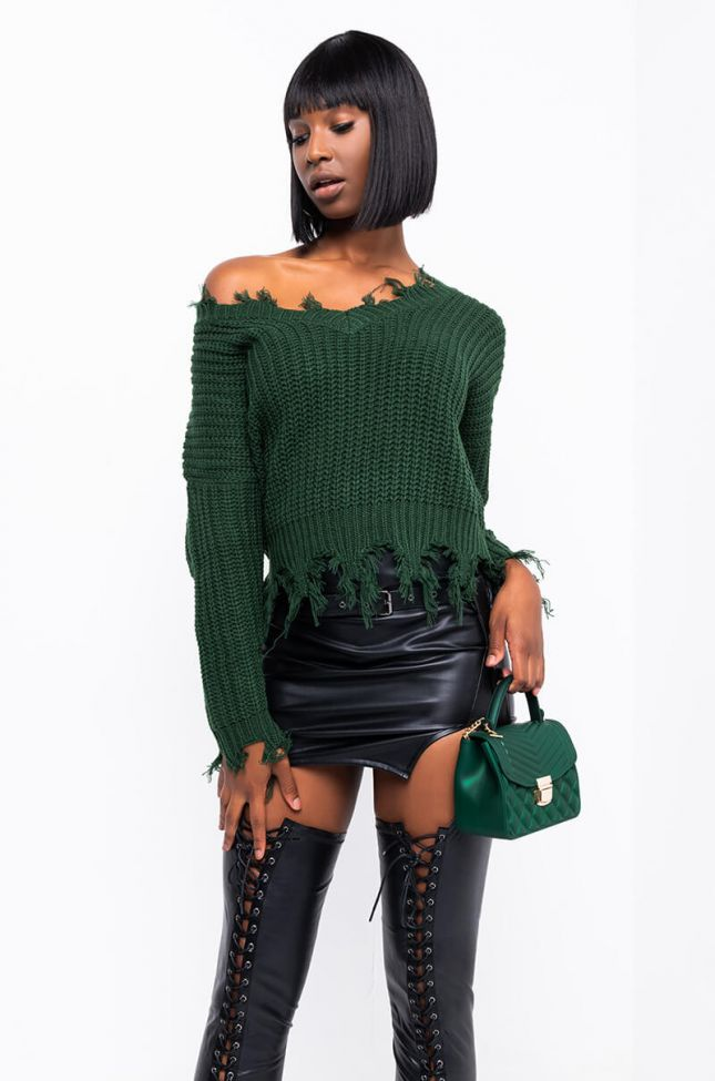 Front View Only Forever Sweater in Green