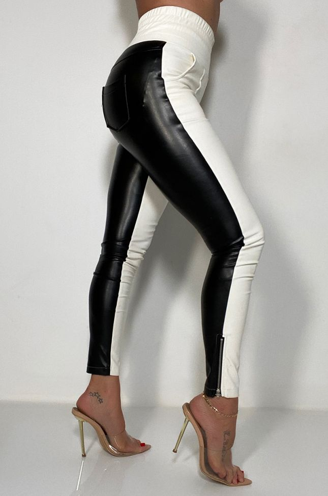 Side View Only You Two Toned Faux Leather Pant in Black White