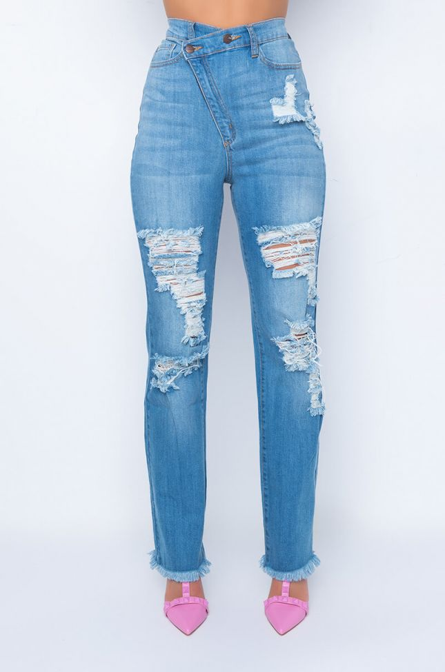 Front View Opposite Direction High Rise Relaxed Jeans
