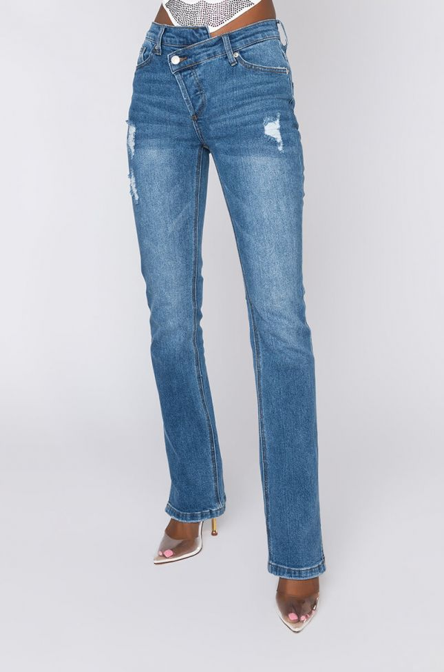 Front View Opposite Side Straight Jeans in Medium Blue Denim