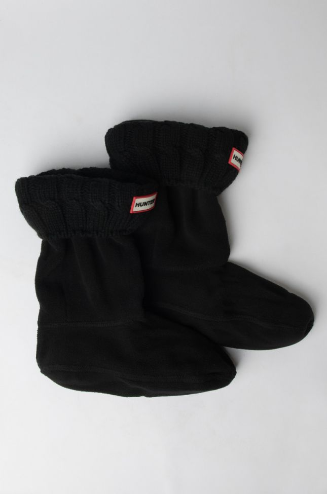 Front View Original Short Boot Sock 6 Stitch Cable in Black