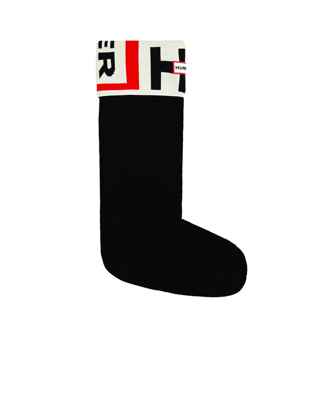 Front View Original Tall Boot Sock Logo Cuff in Exploded Logo