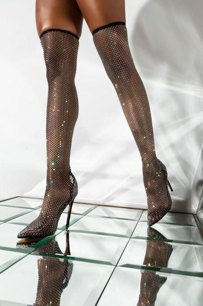 Front View Other Designs Fishnet Rhinestone Stiletto Boot in Black