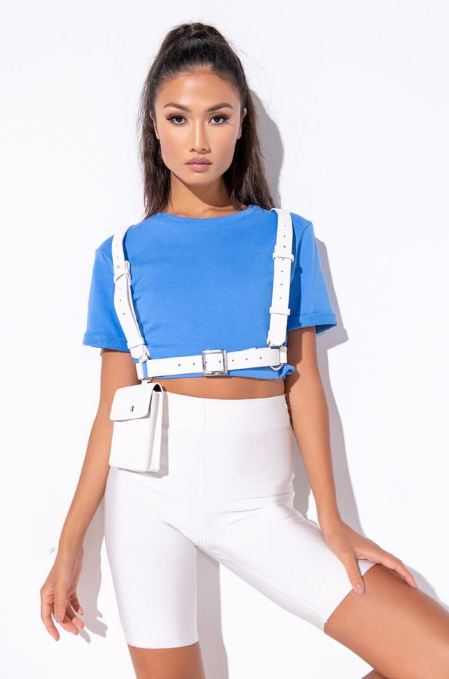 Front View Out And About Cropped T Shirt in Blue