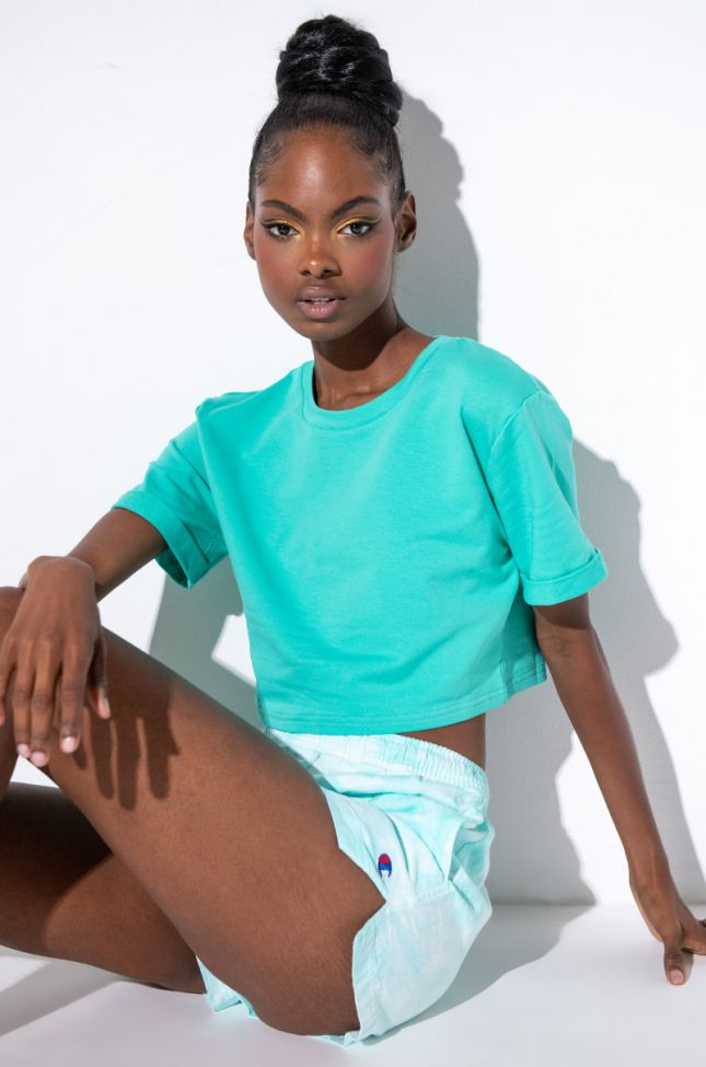 Front View Out And About Cropped T Shirt in Green
