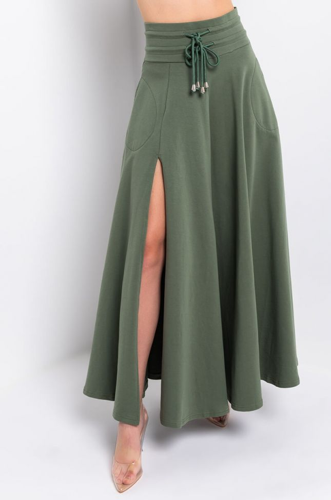 Front View Out And About Maxi Side Slit Skirt in Green