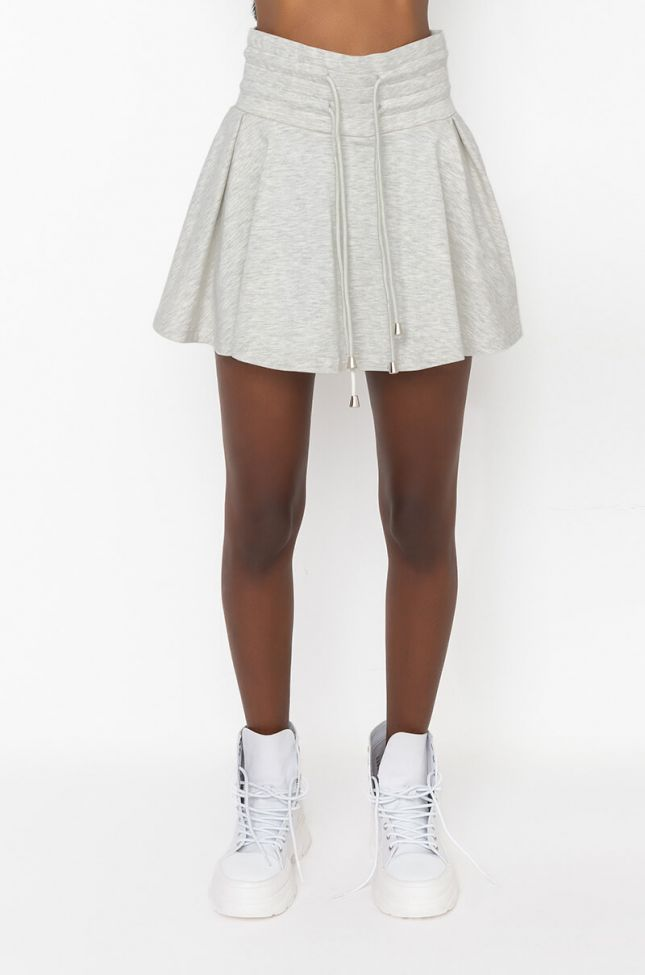 Front View Out And About Mini Skirt in Heather Grey