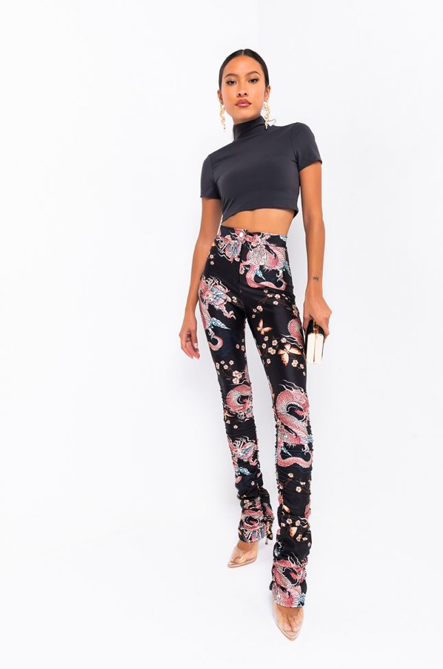 Full View Out Of Office Dragon Printed Stacked Legging in Black Multi