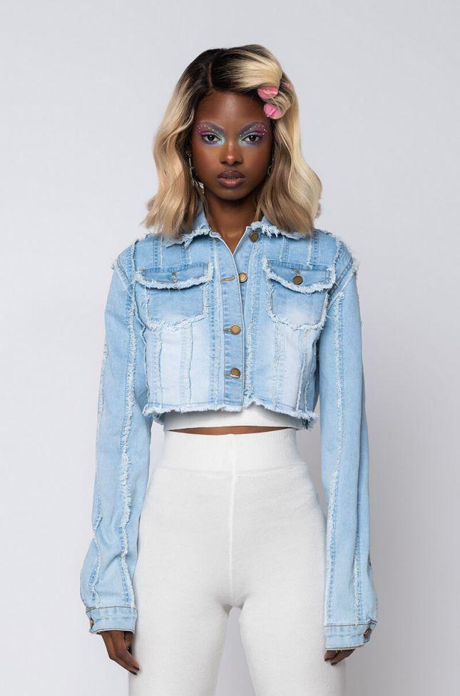 Front View Outer Seam Denim Jacket in Light Blue Denim