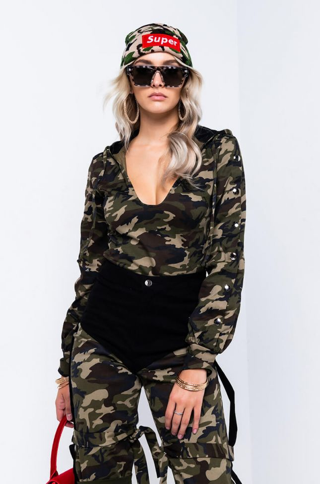 Front View Outside The Comfort Zone Camo Sweathsirt Bodysuit in Green Multi