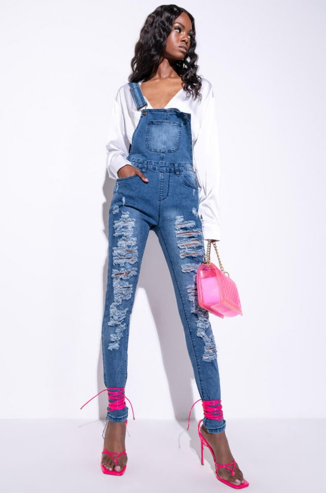 Front View Over It Distressed Denim Overall