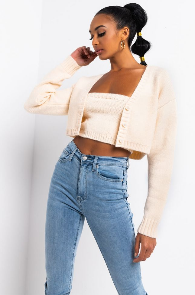 Front View Over The Edge Crop Knit Cardigan in Ivory