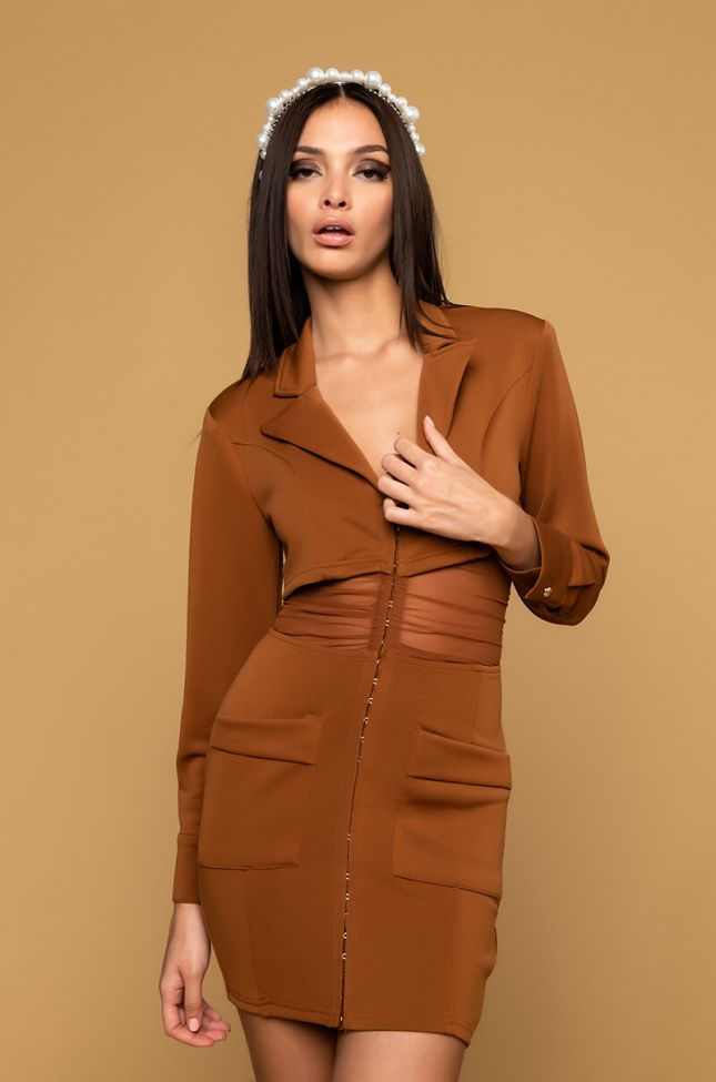 Front View Over The Moon Long Sleeve Blazer Mini Dress in Brown